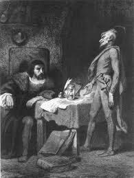 Un'illustrazione che raffigura Faust mentre tratta col Demonio